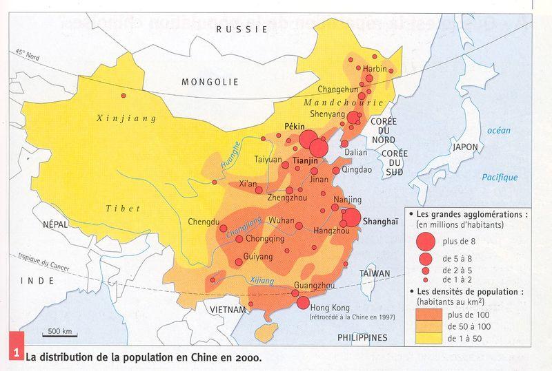 Distribution de la population chinoise couleur
