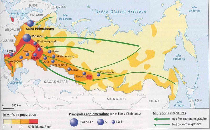 Carte Répartition de la population en Russie