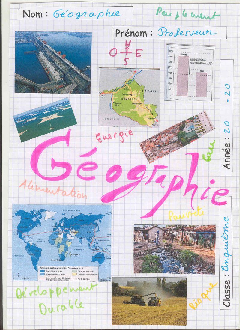 Couverture cahier géographie