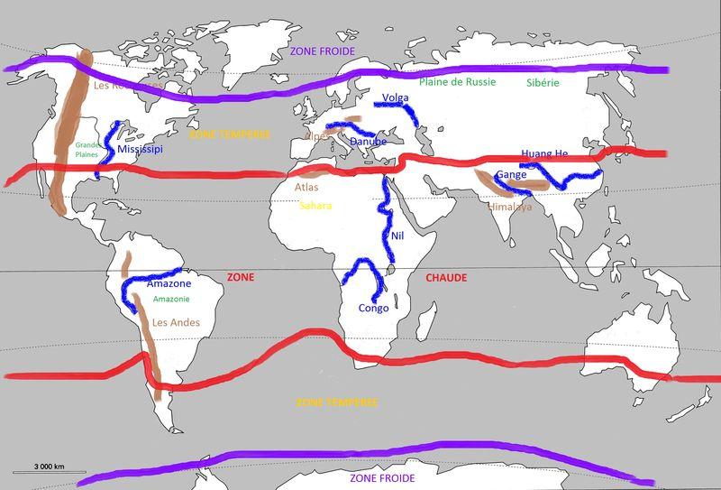 Monde - reliefs et climats