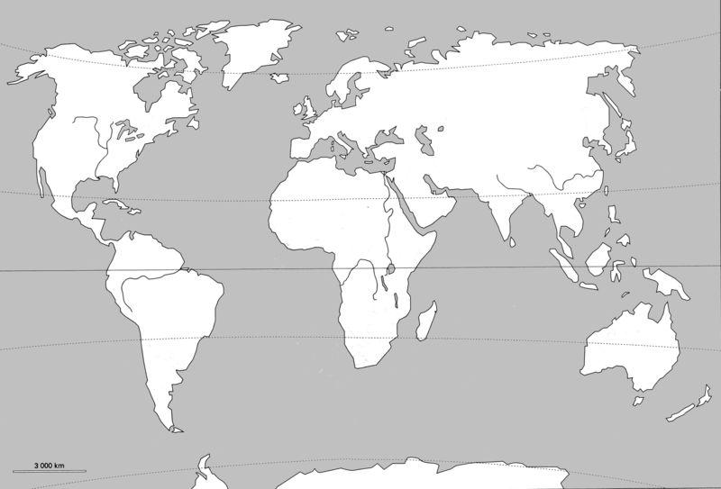 Fond de carte - Monde avec fleuve