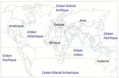 Carte Repères - Continents  et Océans