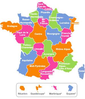 Carte Repères - France régions