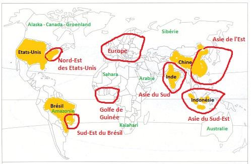 Monde - Répartition de la population
