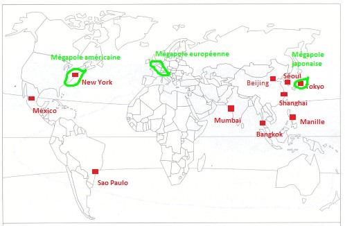 Monde - grandes agglomérations et mégapole