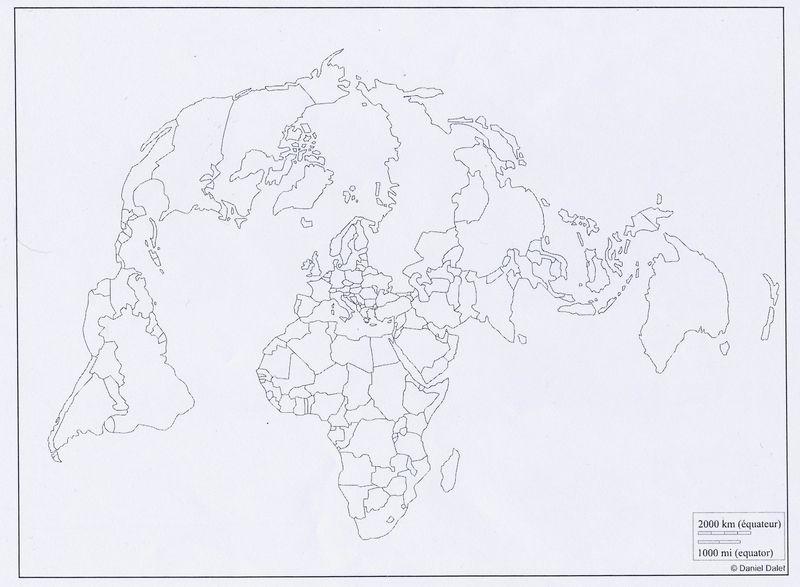Fond de carte - Monde centré pôle