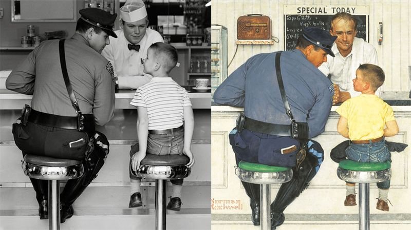 Photographie - Norman Rockwell tableau + photo