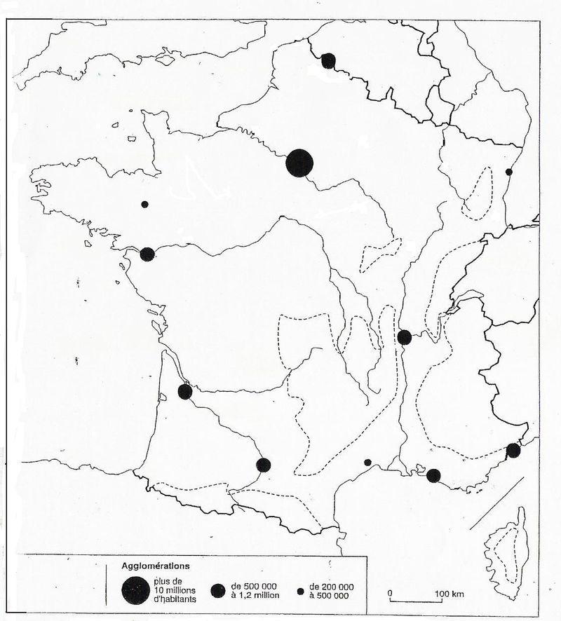 Fond de carte - France agglomérations