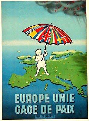 Affiche - Europe unie Gage de paix 1951 Comité européen Paix et Liberté