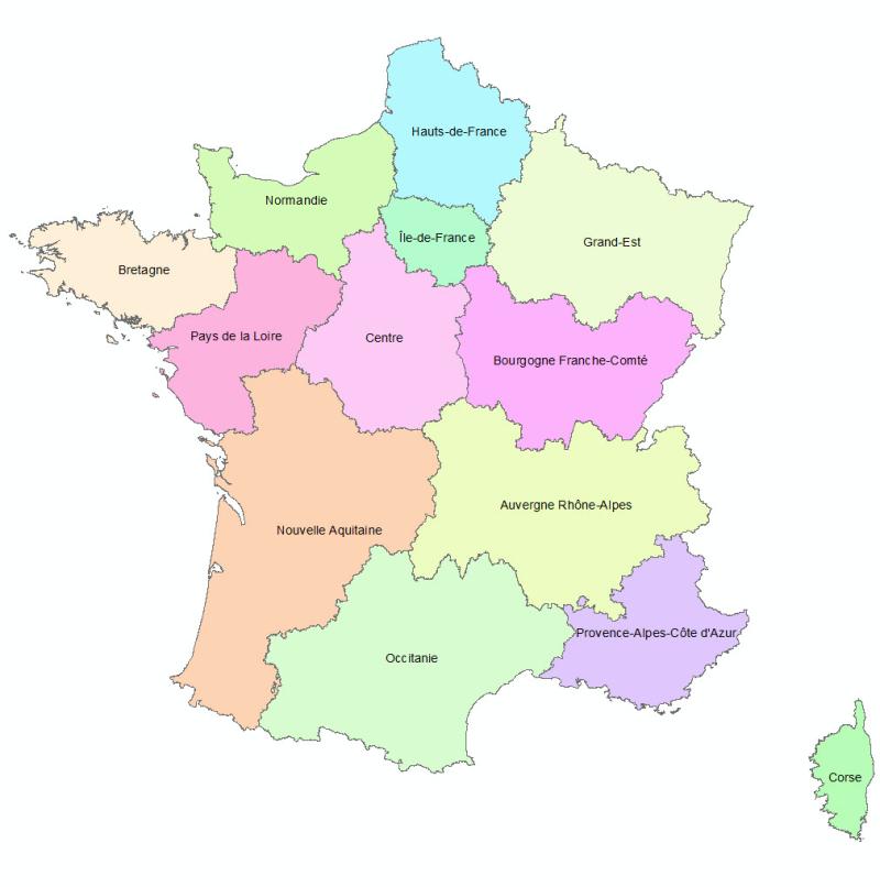 Carte - régions