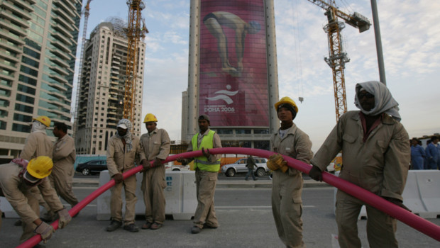 Pictures - workers in Doha