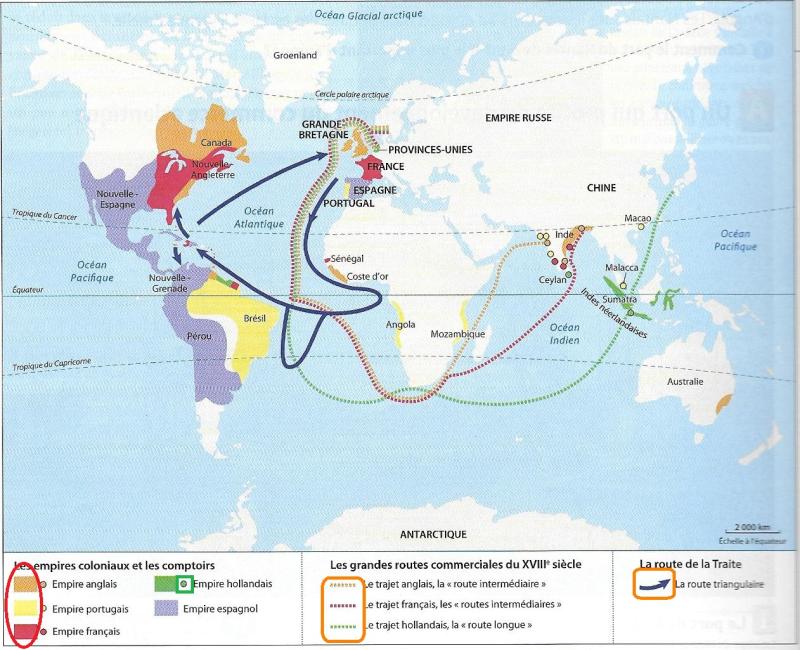 Empires coloniaux au XVIIIe siècle