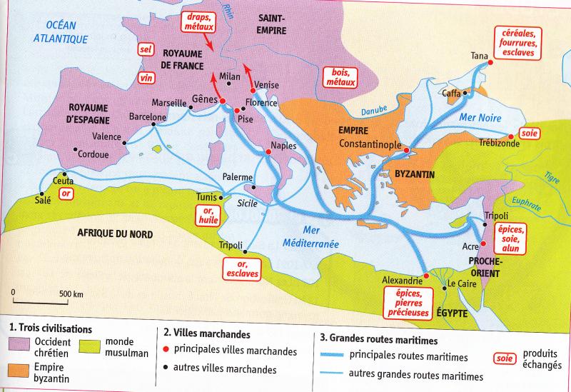 Carte commerce en méditerranée