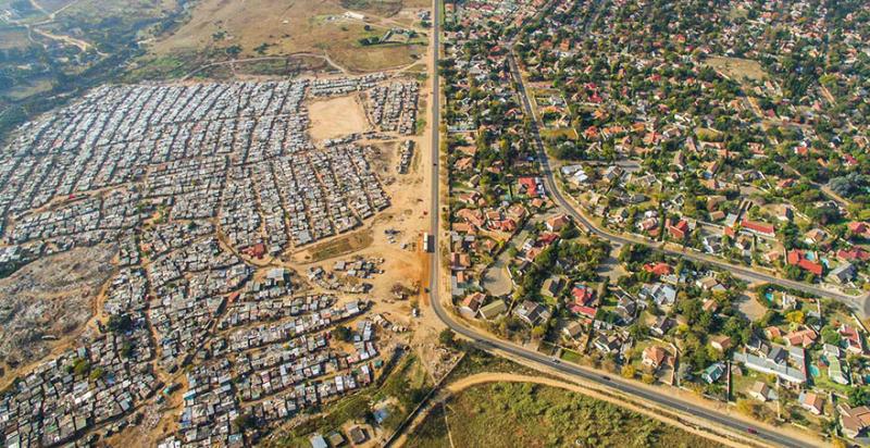 Richesse pauvreté Afrique du Sud vue du ciel