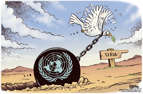 Carictaure ONU et Syrie colombe